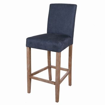 Hartford Fabric Bar Stool Brushed Smoke Legs, Denim Slate Blue