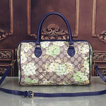 Perfect Gucci Women Leather Flower Print Luggage Travel Bags Tote Handbag
