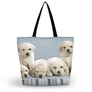 Cute Dogs Womens Eco Shopping Bag Girl's Utility School Travel Bag Tote Foldable Grocery Packing Tote Beach Bag Free shipping