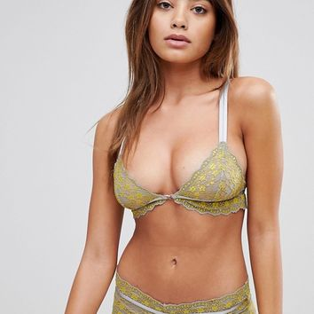 ASOS Clara Contrast Lace Triangle Bra at asos.com