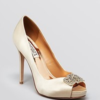 Badgley Mischka Peep Toe Evening Platform Pumps - Tory High Heel
