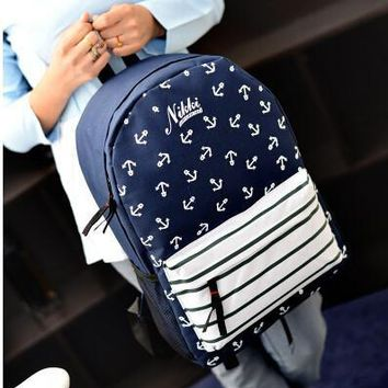 Striped navy wind shoulder bag College wind retro student bag school backpack anchor Korean female bag