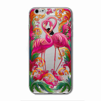 Flamingo Soft Clear Colorful Transparent Silicone Case Cover For iPhone 6/6s