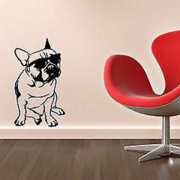 Wall Stickers Vinyl Decal Funny Dog in Glasses Animal Unique Gift ig1397
