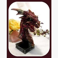 """Vibrant"" Red Dragon Head Statue"