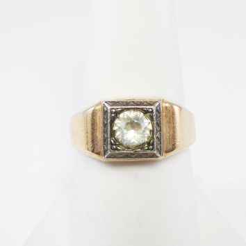 Mens Victorian Gold Wedding Band Mine Cut Rhinestone Ring Sz 9 1/4 Signed C&C 1/30 14K RGP STERLING TOP Vintage 1910s 1920s Jewelry for Men