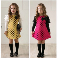 girls polka dot dress long-sleeve kids girls princess dress