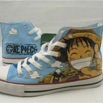 CREYON one piece anime custom converse one piece anime by paintedscanvas