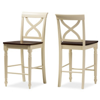 """Baxton Studio Ashton Modern Country Cottage Buttermilk and """"Walnut"""" Brown Finishing Wood Counter Height Pub Chair Set of 2 (Cream/'Walnut' Brown)"""