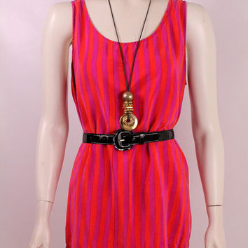 Vintage 80s 90s - Orange & Hot Pink Carnival Stripe - Billowy 100% Silk Tank Top Blouse - Diane Gilman