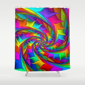 Psychedelic Rainbow Spiral Shower Curtain by KittyBitty