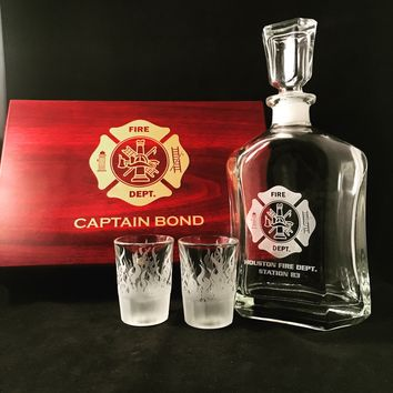 Fireman Whiskey Decanter with two shot glass and Gift Box
