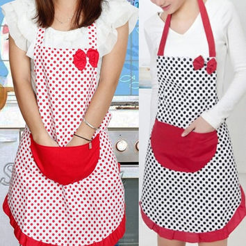 New Cute BowKnot Women Kitchen Restaurant Bib Cooking Aprons With Pocket = 1706391044