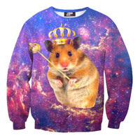 Adorable Hamster Gerbil Universe Space Nebula Print Pullover Sweatshirt Sweater | Gifts for Animal Lovers