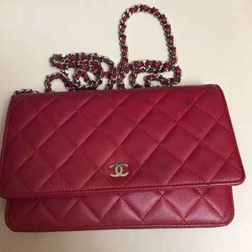 Chanel Red Leather Flap Woc Silver Chain Wallet on Chain Cross Body Bag 2011