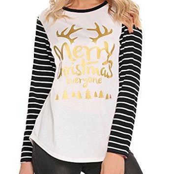 Halife Womens Christmas Letter Print Stripe Long Sleeve TShirts Casual Blouse Tunic Tops