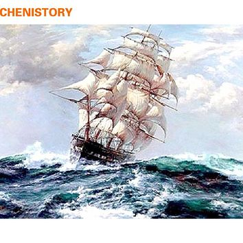 CHENISTORY Abstract Sailing Boat Diy Digital Oil Painting By Numbers Wall Art Picture Unique Gift Home Decoration 40x50 Artwork