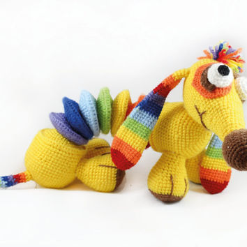 Dachshund Rainbow Crochet Dog Stuffed Toy Knitted Dog Cute Soft Toy Baby Girl Gift Doll Hand Made Doll Amigurumi Collectible Doll Multicolor