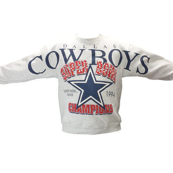Vintage Dallas Cowboys Sweatshirt 1994 Super Bowl XXVII Champions 90s Clothing Graphic Jumper Crewneck Football Sports Athletic NFL Hip Hop