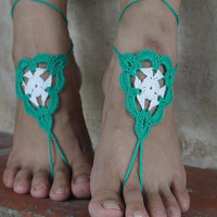 Handmade Knitting Patchwork Hollow Out Lace Anklet Bracelet Crochet Barefoot Sandals Foot Jewelry Accessory Gift-17