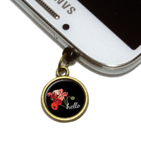 Hello Bouquet Flowers Ranunculus Mobile Phone Brass Charm