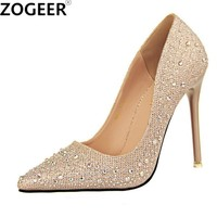 New 2018 Spring Autumn Women Pumps Sexy Black Gold Silver High Heels Shoes Fashion Luxury Rhinestone Wedding Party Shoes