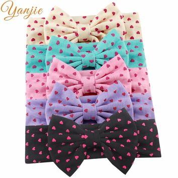 "Retail 1PC 2017 Hot-sale Girl 5"" Cotton Bow Dot Heart Elastic Headband Hair Style Accessories For kIds Headwrap Bandeau"