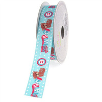 Baby Shower Grosgrain Ribbon, 7/8-inch, 10-yard, ABC Blocks Light Blue
