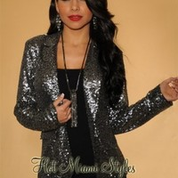 Silver All-Over Sequins Jacket