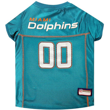Miami Dolphins Dog Jersey - Orange Trim Large