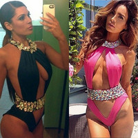 Halt Top One Pieces Swimwear For   Rhinestone/Crystal Swimsuit Bathing Suit Monokini Fashion bandage triangle beachwear