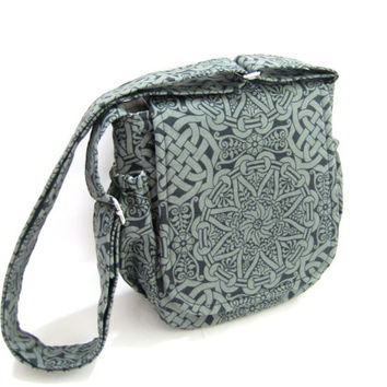 Small Celtic Messenger, Celtic Knot Print Bag, Small Cross Body Bag, Irish Print
