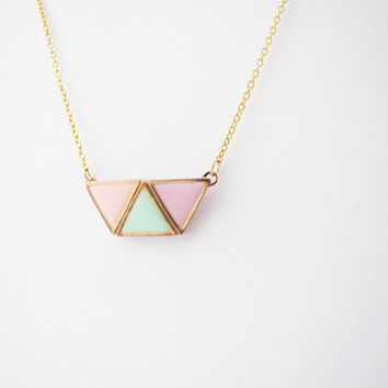 Geometric pastel necklace. Minimalistic necklace.  Fashion necklace
