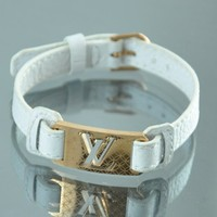 Louis Vuitton Inspired Leather Bracelet, Stainless Steel