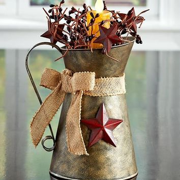 Country Star Table Centerpiece Milk Can Burlap LED Candle Farmhouse Style Decor