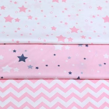 100% cotton PINK STARS chevron twill cloth DIY for kids crib bedding tent cushions handwork home decor patchwork tissue tela