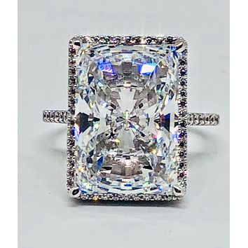 A Flawless 11.7CT Radiant Cut Pave Halo Russian Lab Diamond Engagement Ring