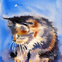 Calico Cat Painting - Giclee print of my watercolor painting - Christmas gift - black cat animals pet kids room blue - by LaBerge - 8 x 10