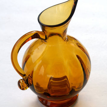 Amber Blown Glass Pitcher