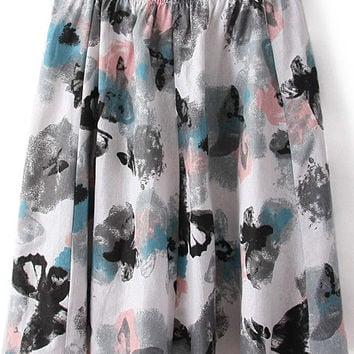 Grey Elastic Waist Butterfly Print Pleated Midi Skirt