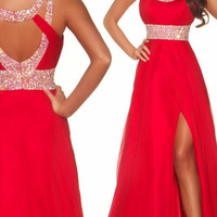 2014 Long Red Chiffon High Slit Evening Gown Ball Prom Bridesmaid Dresses Wedding Gown Custom Made = 1955622020