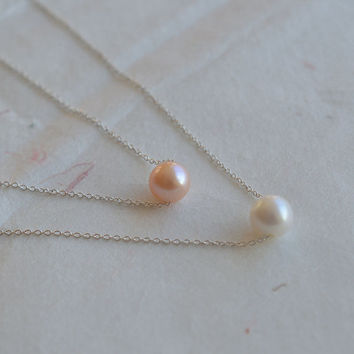 Freshwater pearl necklace,bridal necklace,girlfriend bracelet,sterling silver necklace