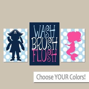 MERMAID Pirate Bathroom Wall Art, Girl Boy Shared Bathroom Decor, Child Bath, WASH Brush Rules, Polka Dot Canvas or Prints Set of 3 Theme