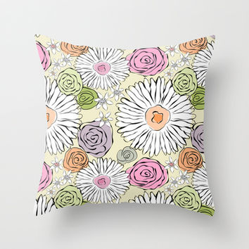 Pastel color freehand sunflowers and roses Throw Pillow by Silvianna