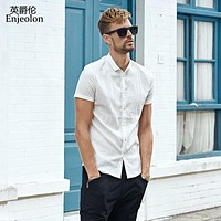 summer short sleeve shirt men solid shirts cotton clothing male casual for men shirt clothes