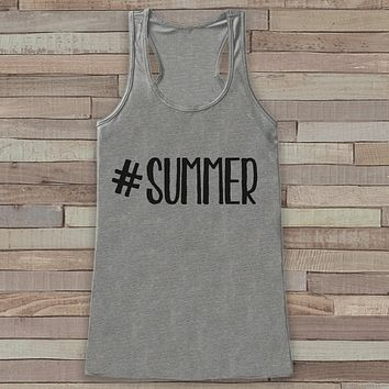 Hashtag Summer Tank Top - Funny Beach Tank - Surf Tank Top - Vacation Tank - Boho Tank - Bathing Suit Cover Up - Bikini Cover Up