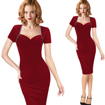 Womens Summer Sexy Solid V-Neck Short Sleeve Slim Pencil Sheath Dress Business Casual Bodycon Charming Office Party Dress
