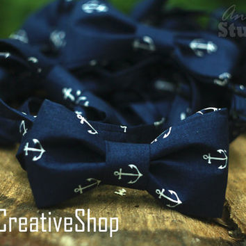SALE! Anchor Bow Tie / Anchor Bowtie / Cotton Bow Tie / Boys Navy Blue Bow Tie / Wedding Bow Tie / Mens bow tie / Sea bow tie. Mens Gift