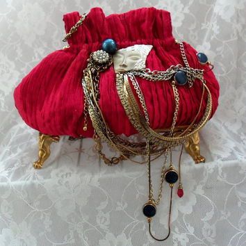 Red Evening Bag Steampunk purse Couture twins by HopscotchCouture
