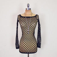Vintage 80s 90s Black Fishnet Dress Fish Net Mesh Dress Sheer Dress Body Con Dress Bodycon Dress Stretch Mini Dress Sexy Fetish Club XS S